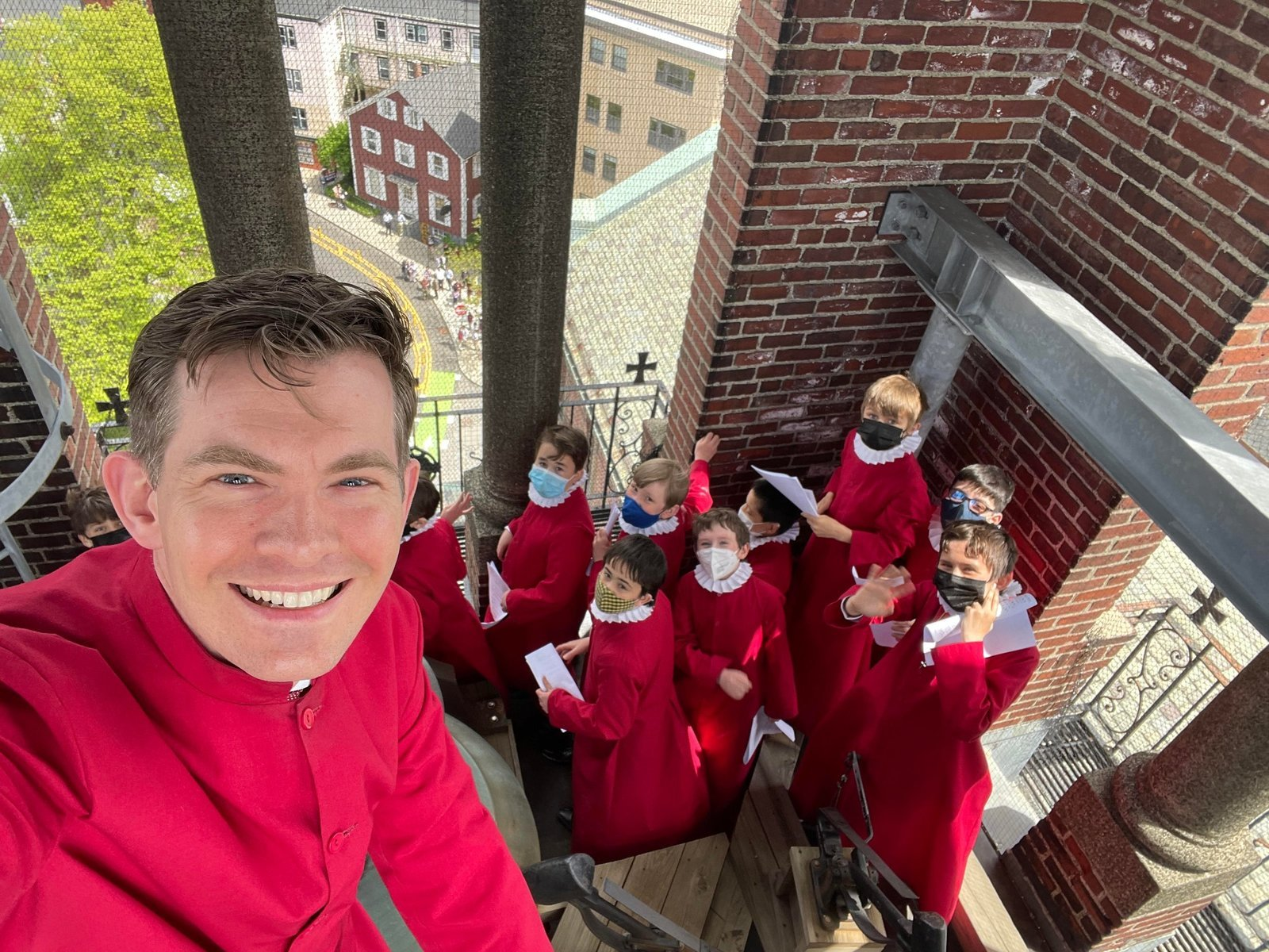 Image: Celebrating their recording from the Bell Tower!