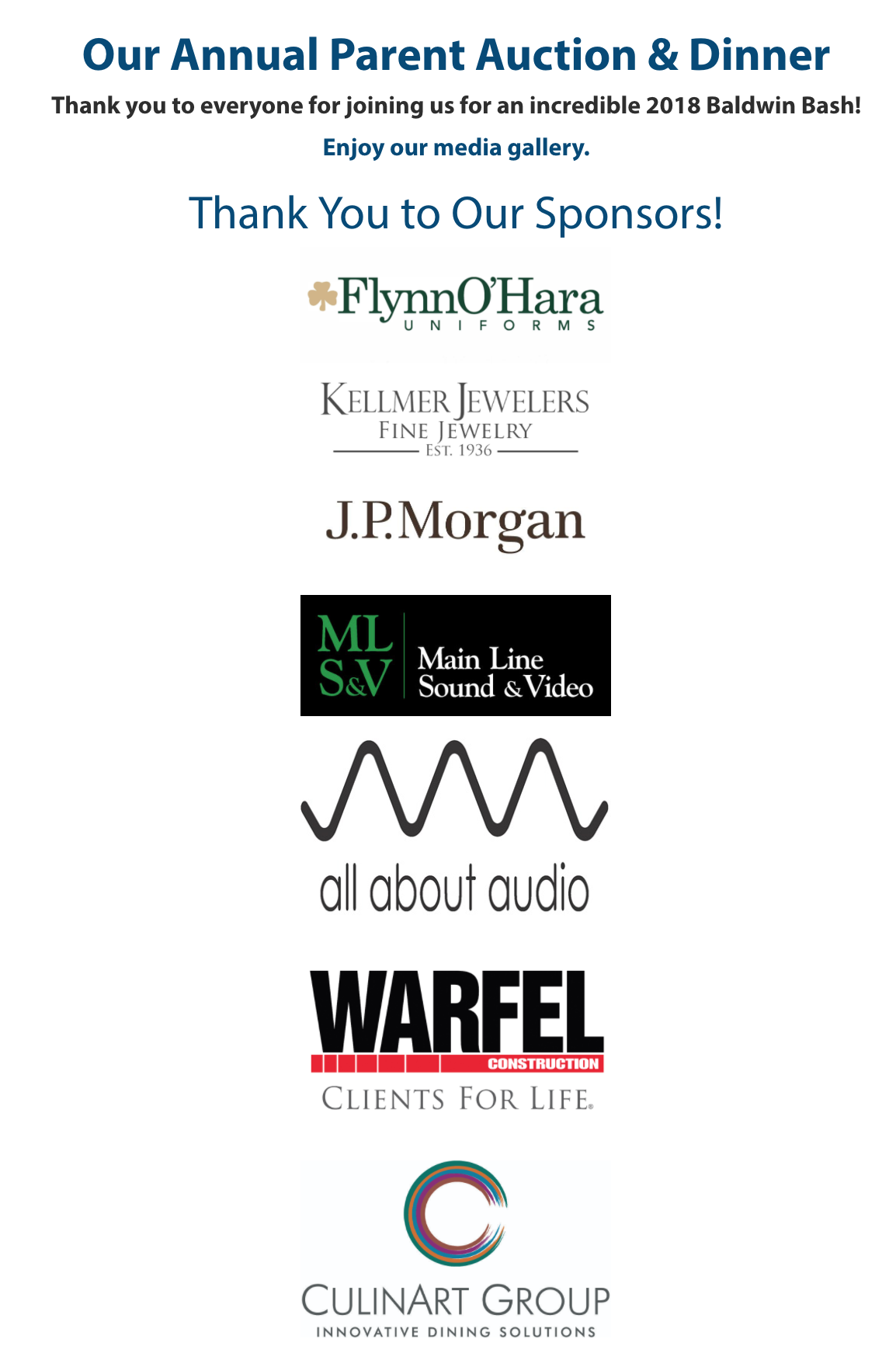 Image: Baldwin's numerous sponsors for their 2018 gala