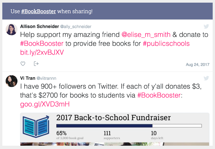Image: A BoostMySchool campaign with a custom hashtag feed