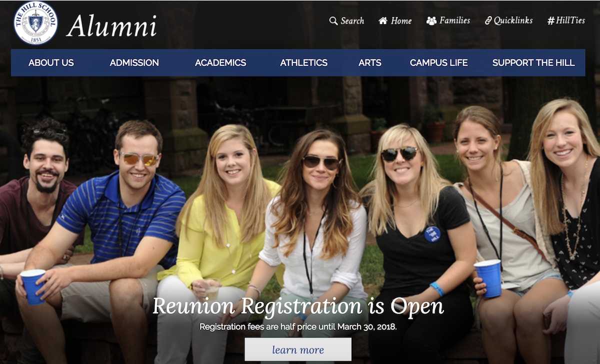 Image: The Hill School's early reunion registration discount