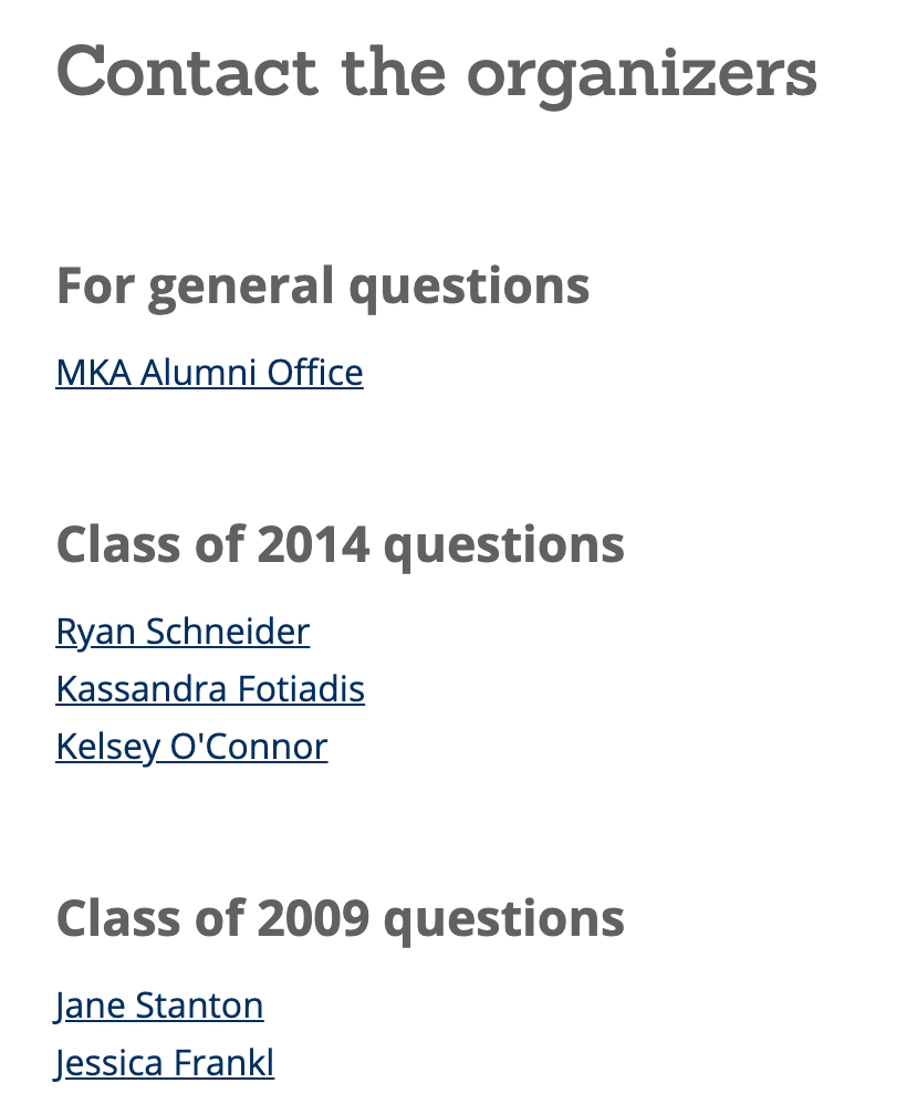Image: Montclair Kimberley Academy lists their reunion committee on their registration page