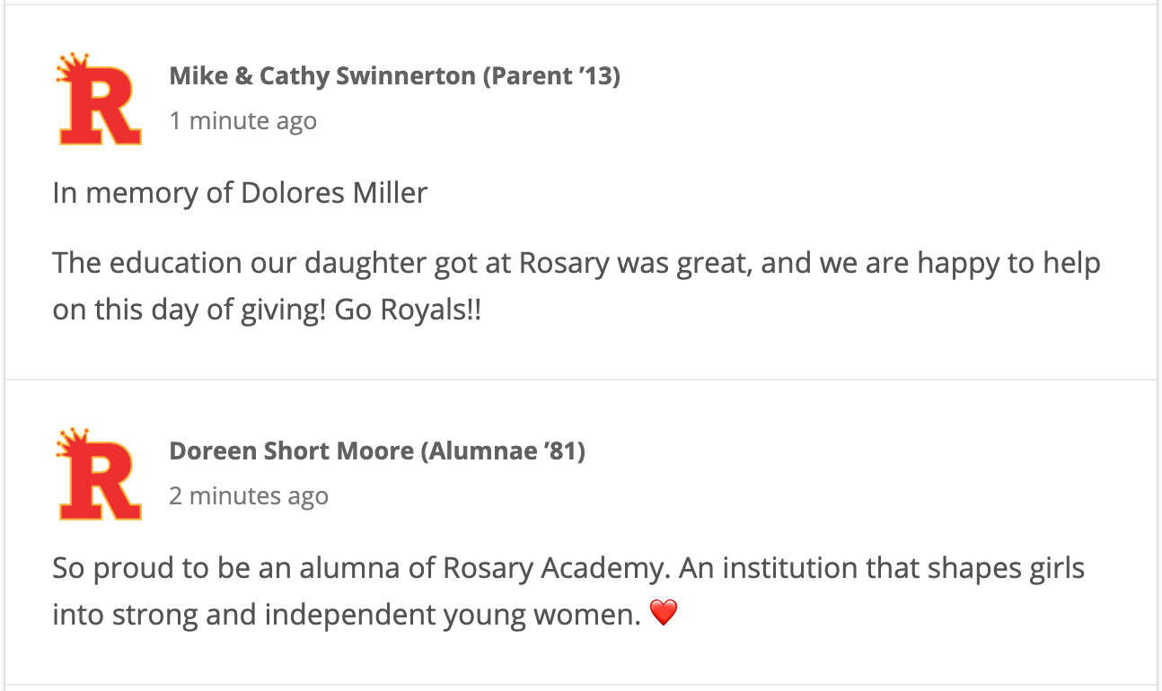 Image: Comments left on BoostMySchool by Day of Giving donors