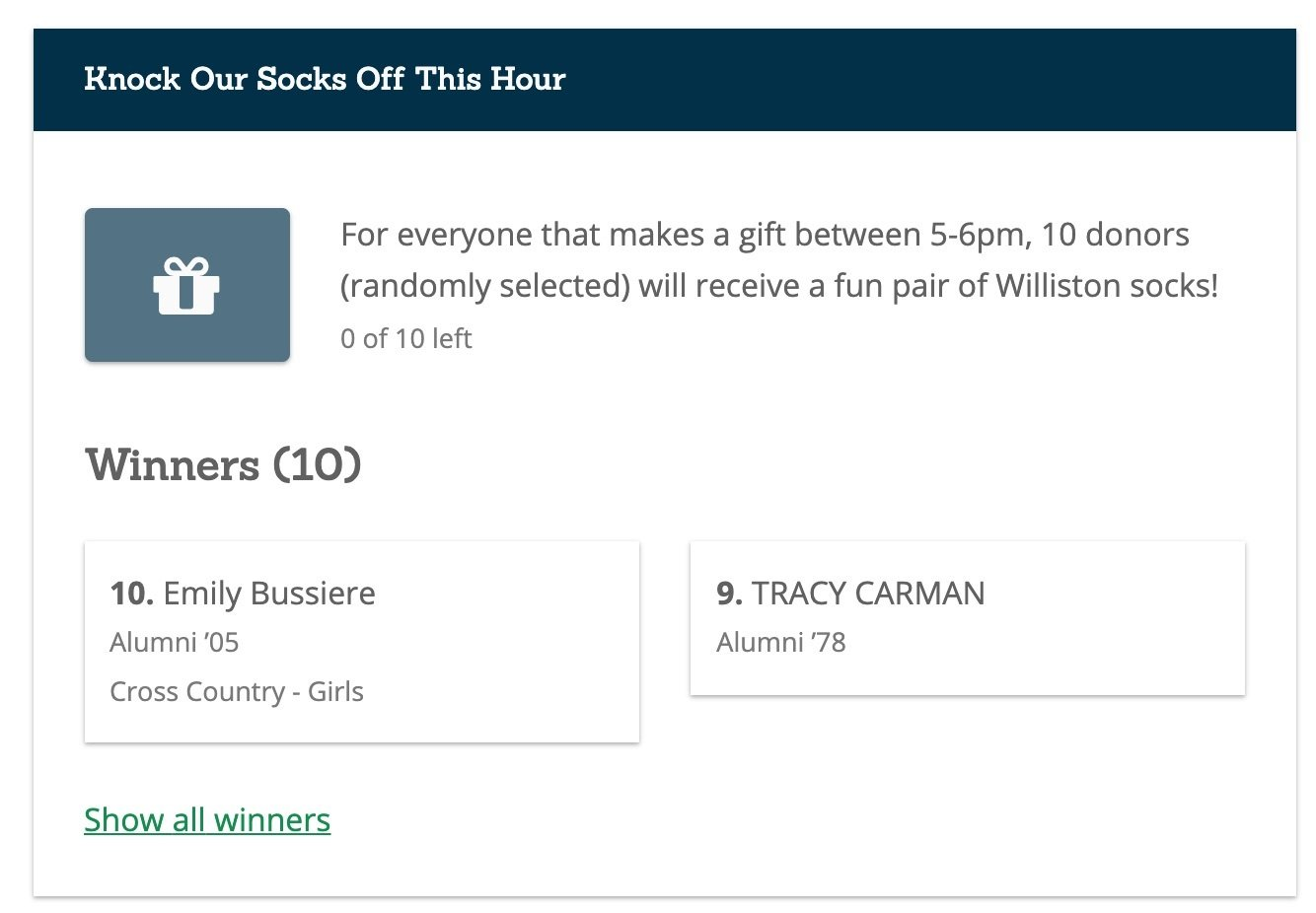 Image: Williston sock giveaway and winners