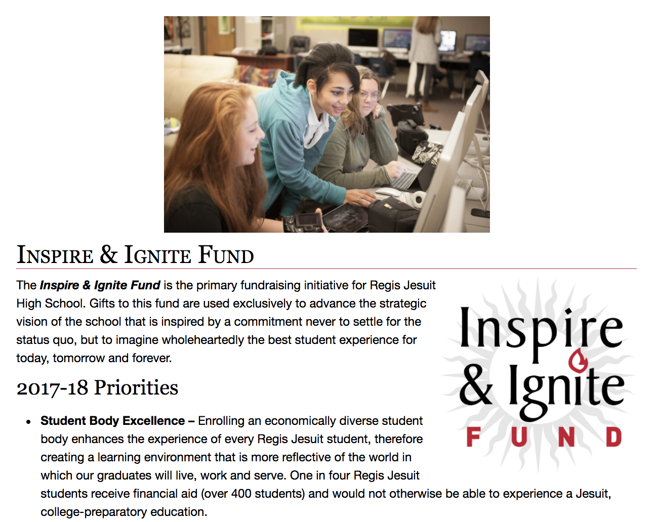 Image: Regis Jesuit High School's Inspire & Ignite Fund