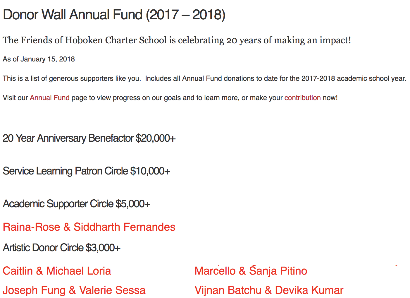 Image: Hoboken Charter School's annual fund donor wall